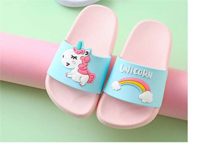 Unicorn Slippers For Boy Girl Cartoon Rainbow Shoes 2019 Summer Todder Flip Flops Baby Indoor Slippers Beach Swimming Slipper