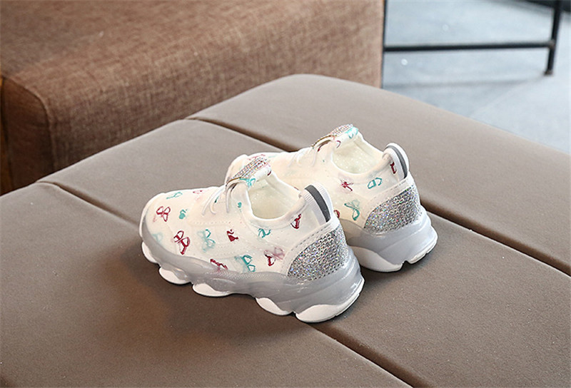 2019 Children Butterfly Crystal Led Luminous casual breathable Sport Shoes Baby Girls Sneakers Shoes