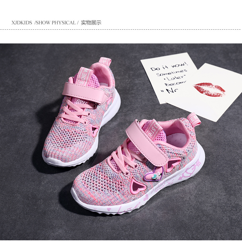 Children Mesh Casual Shoes Girl Sneakers Kids Banner Sport Footwear Kids Shoes for Girl Light Shoes Cute Pink Flat Shoes Free
