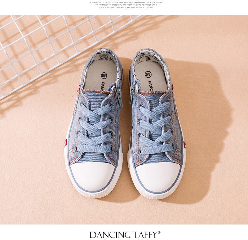 Denim Jeans Children Shoes Canvas Kids Shoes New Zip Breathable Casual Rubber Vulcanize Gingham Striped Girls & Boys Sneakers