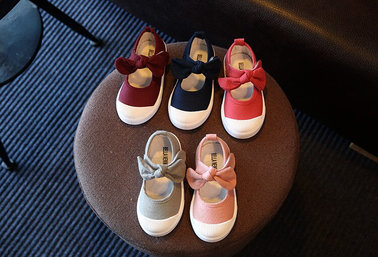 JUSTSL Autumn 2016 new children canvas casual shoes kids lovely bow flat heels shoes Korean girls princess shoes