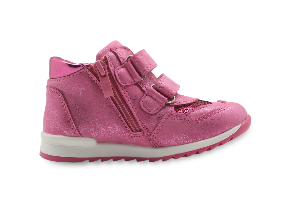 Apakowa Girls Shoes Lovely Kids Pu Leather with Heart Patched Children's Shoes with Zip Anti-Slip Toddler Girls Sneakers