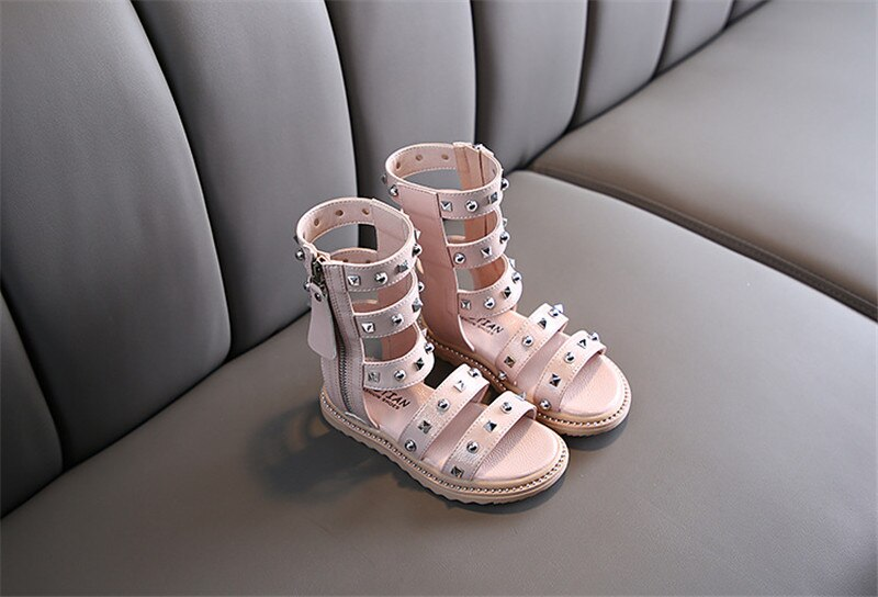 Girls Long Boot Rivets Sandals Soft Bottom Fashion Gladiator Sandals 2020 Summer Children Outdoor Non-slip Flat Zip Shoes 26-36