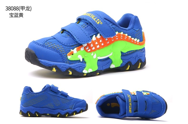 DINOSKULLS Kids LED Light Shoes Boys Glowing Sneakers Dinosaur Autumn Tennis Breathable Sports Running Children's Shoes For Boy