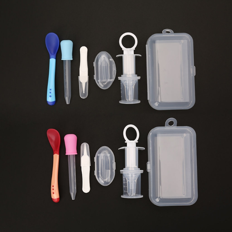5pcs Newborn Baby Kids Medicine Dispenser Dropper Toothbrush Health Care Kit