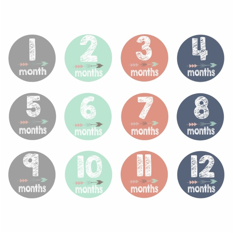 12 Pcs/Set New Baby Pregnant Women Monthly Photograph Stickers Month 112 Milestone Stickers Hot sale 2018