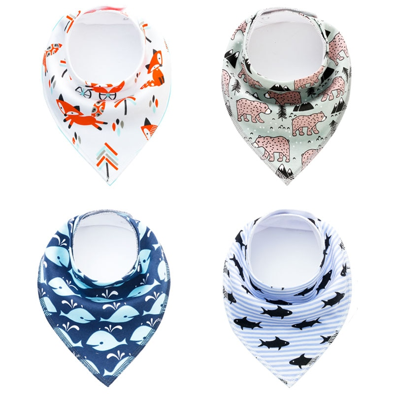Baby Bibs Triangle scarf Cotton Cartoon Child Baberos Bandana Bib Babador Dribble Bibs Newborn Slabber Absorbent Cloth Bib
