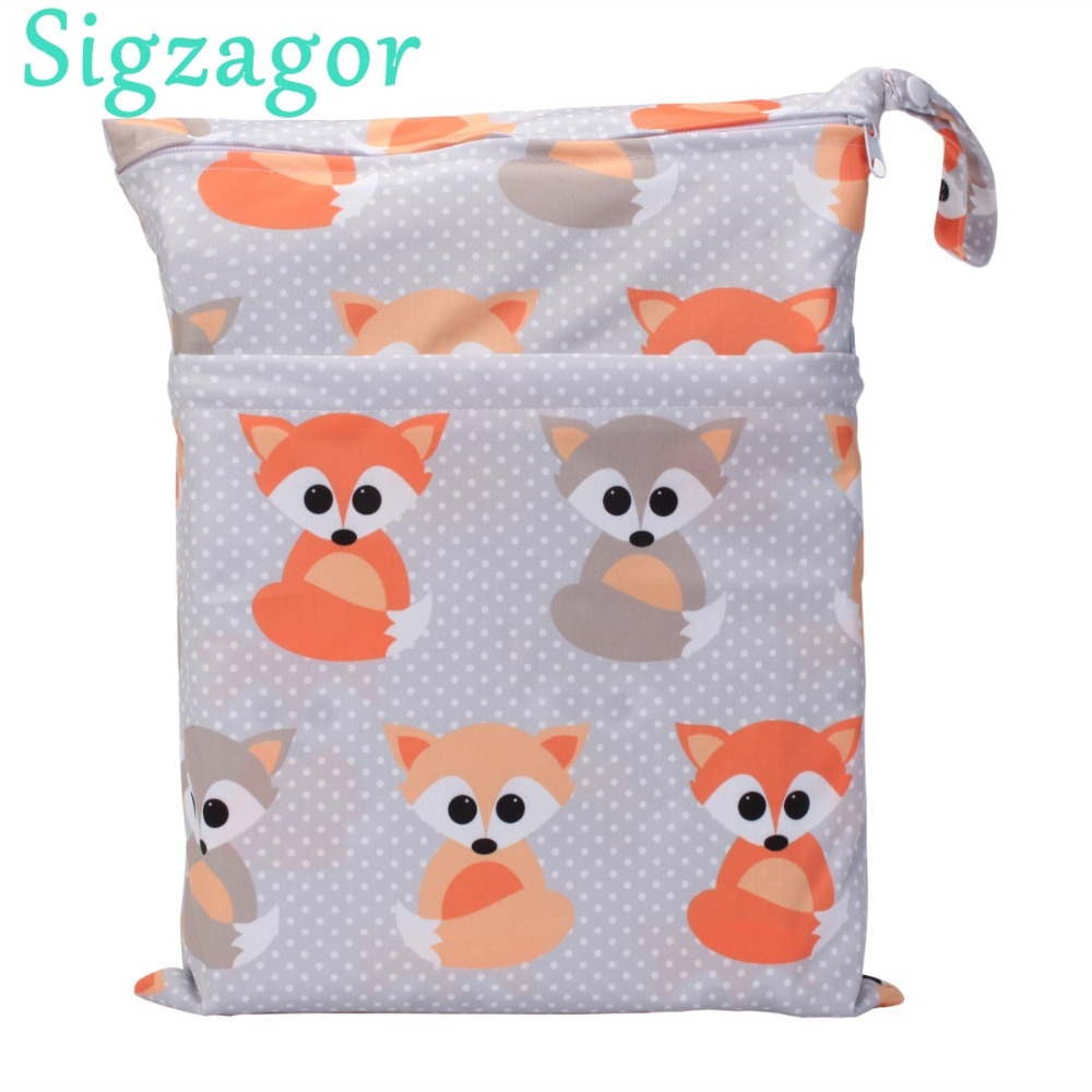 [Sigzagor]Wet Dry Bag With Two Zippered Baby Diaper Bag Nappy Bag Waterproof Reusable Washable
