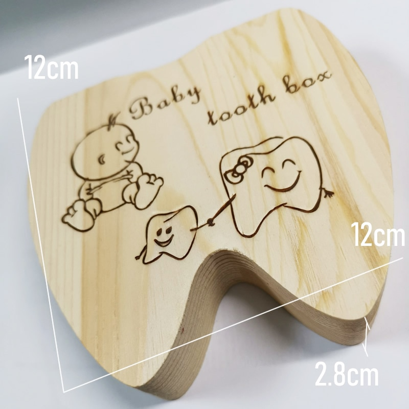 Wooden Baby Tooth Box English /Spanish /Portuguese Milk Teeth Umbilical Organizer Storage Boys Girls Souvenir Case Baby Gifts