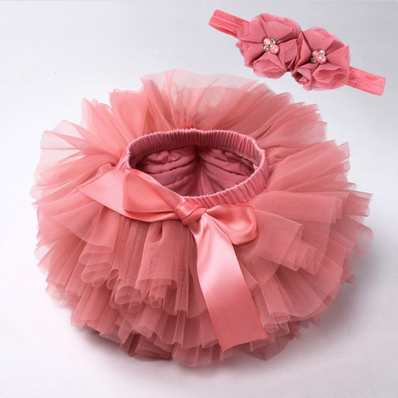 Baby girl tutu skirt 2pcs tulle lace bloomers diaper cover Newborn infant outfits  Mauv headband flower set Baby mesh bloomer
