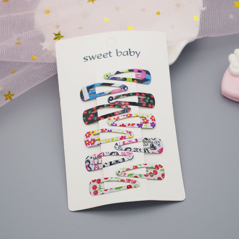 10 Pcs/set Simple Colorful Paint Children's BB Hair Clips for Child Baby Cute Small Mini Hairpins Printing Hair Headdress 3.5cm
