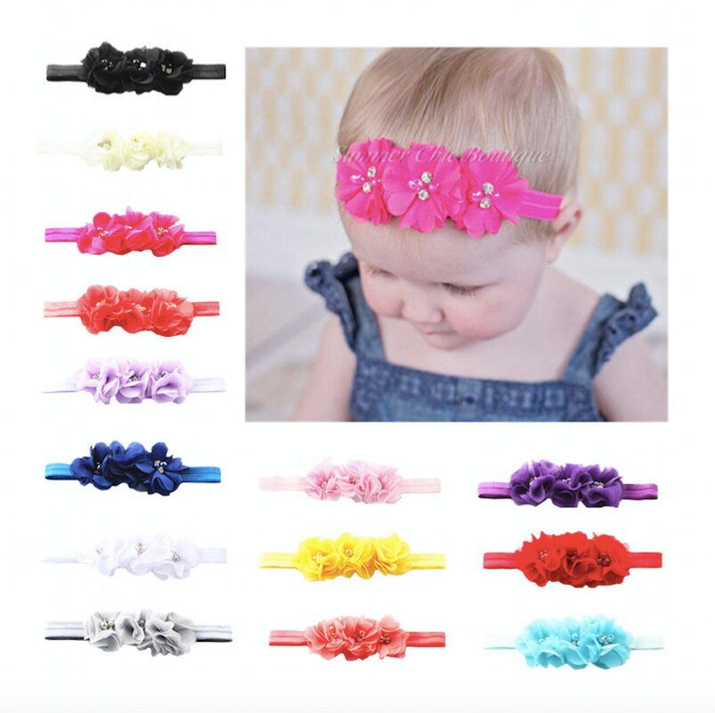 24Clrs New Fashion Hot children kids Baby girls pearl diamond 3 flowers Headband Headwear Hair Band Head Piece Accessories