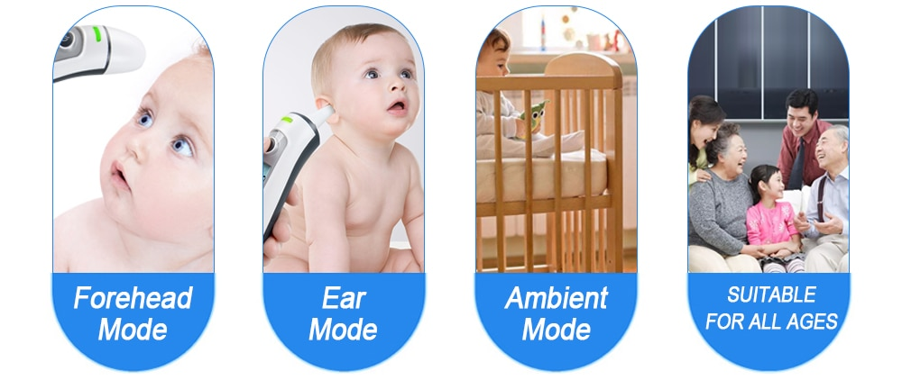 ELERA Baby Thermometer Infrared Digital LCD Body Measurement Forehead Ear Non-Contact Adult Body Fever IR Children  Termometro