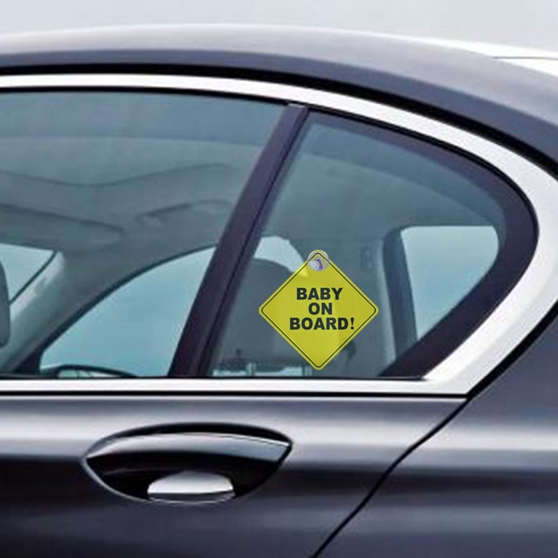 Car Sticker Baby ON BOARD WARNING SAFETY SIGN Sticker Decal with Sucker for Car Vehicle Window Sticker Car Accessories Styling