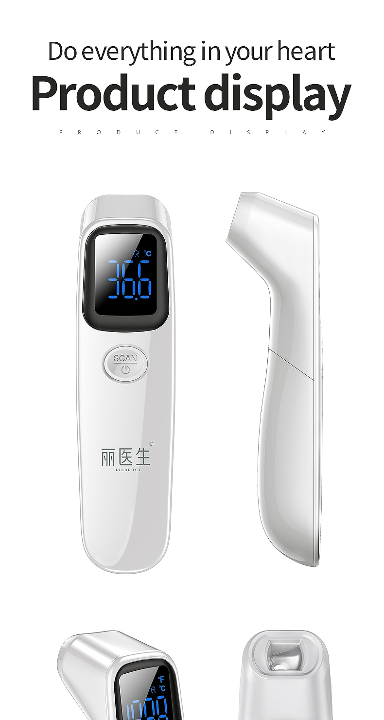 LIERDOCT Baby Forehead Thermometer Digital LED Body Temperature Meter Non-contact Infrared Thermometer Gun Children Adult Fever