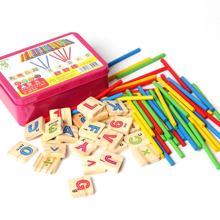 Child Wooden Mathematics Numbers Sticks math Toys Baby Children Early Learning Counting Educational Toy with Box kids gift