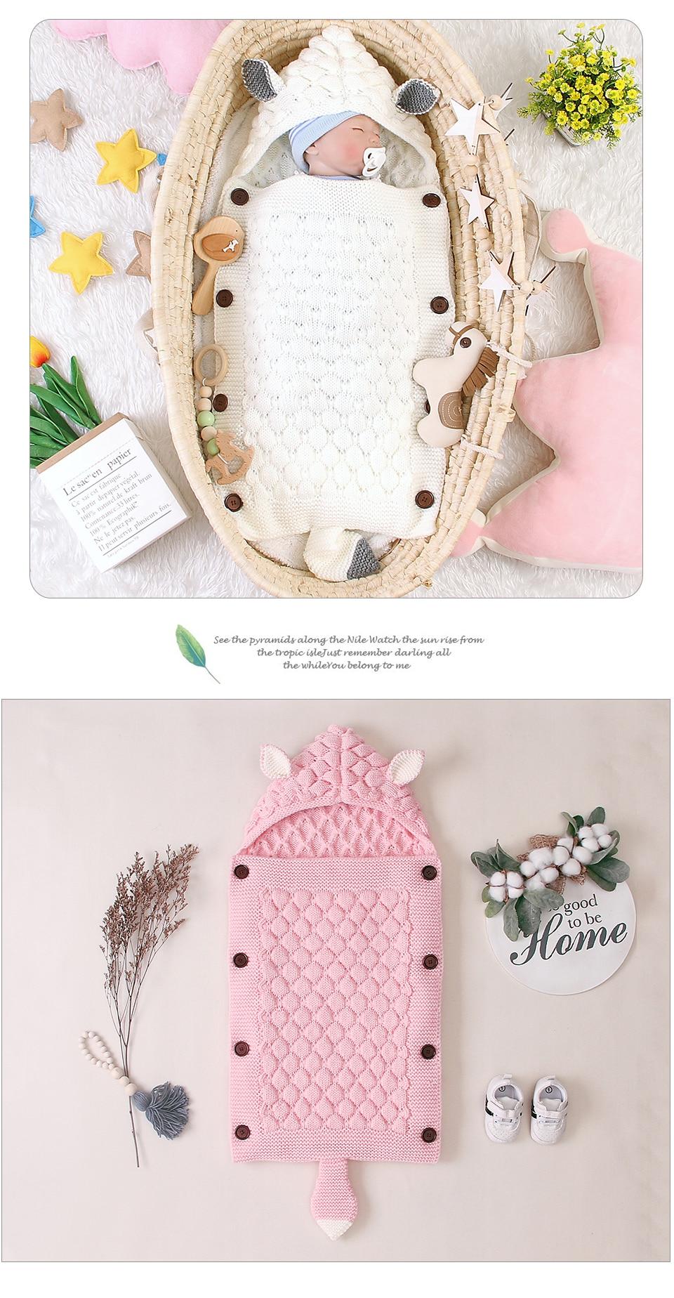 Baby Sleeping Bags Envelopes for Newborn Stroller Autumn Knitted Infantil Bebes Swaddle Sleepsacks Discharge Cocoon Cartoon Fox
