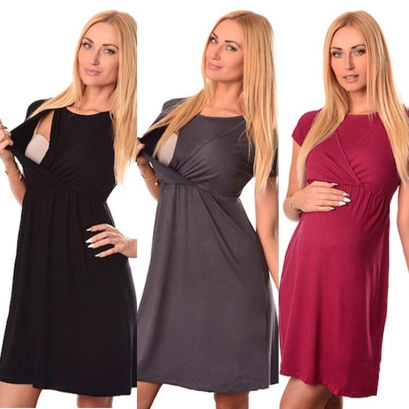 Short Sleeve Nursing Dress Women Pregnant Maternity Clothes Baby Pregnancy Dresses Breastfeeding Clothes Ropa Embarazada