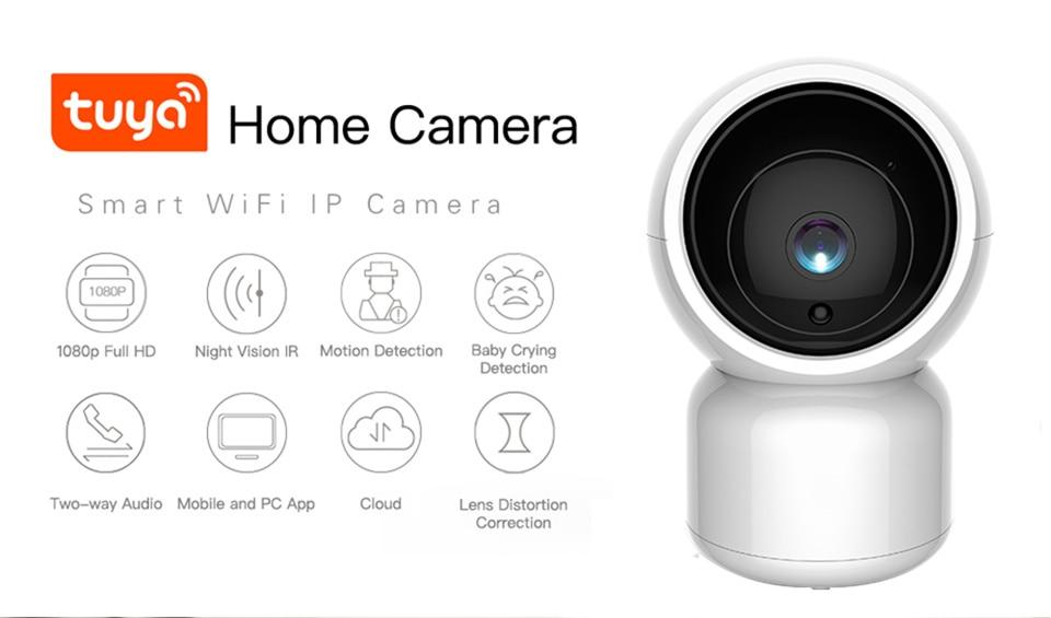 Tuya Smart 1080P HD WiFi IP Camera with Pan-Tilt Zoom Two Way Audio Baby Care Amazon Alexa Google Home Voice Video Control