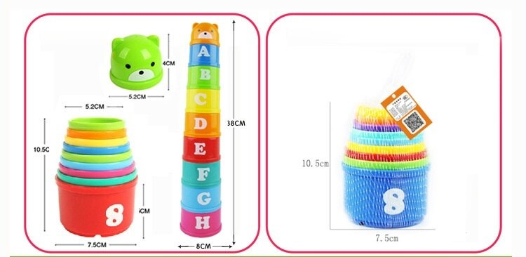 9PCS Baby Stacking Cup Toys Early Educational Intelligence Toy Rainbow Color Folding Tower Toys Children Birthday Christmas Gift
