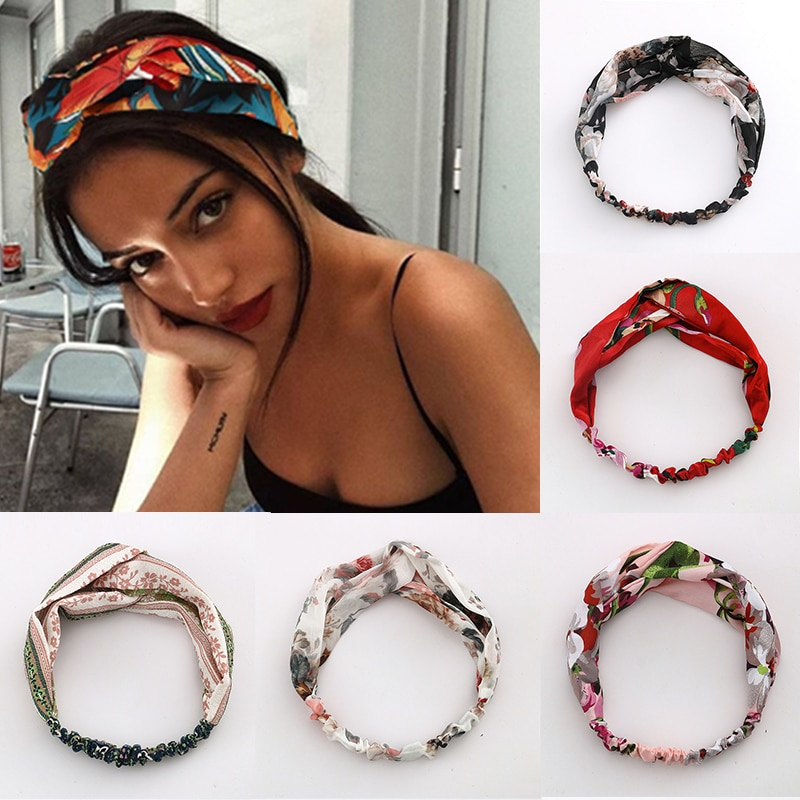 Women Hair Accessories for Baby Fashion Headband Fabric Cross Knotted Bow Chiffon Floral Hair Band Korea Headdress ladies Hoop