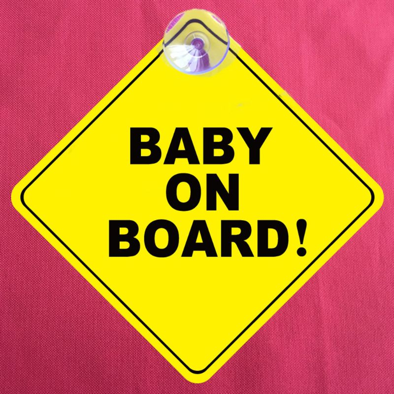 BABY ON BOARD Stroller Safety Car Window Sticker Yellow Reflective Warning Sign