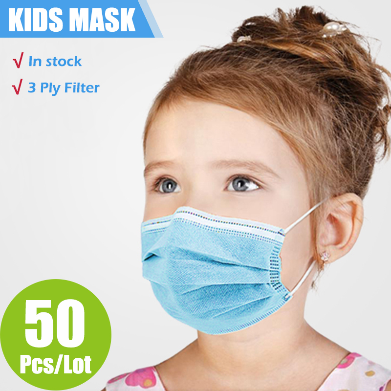10/50/100/200 Pcs Child Kids Mask 3 Layer Non-woven Filter Face Mouth Mask
