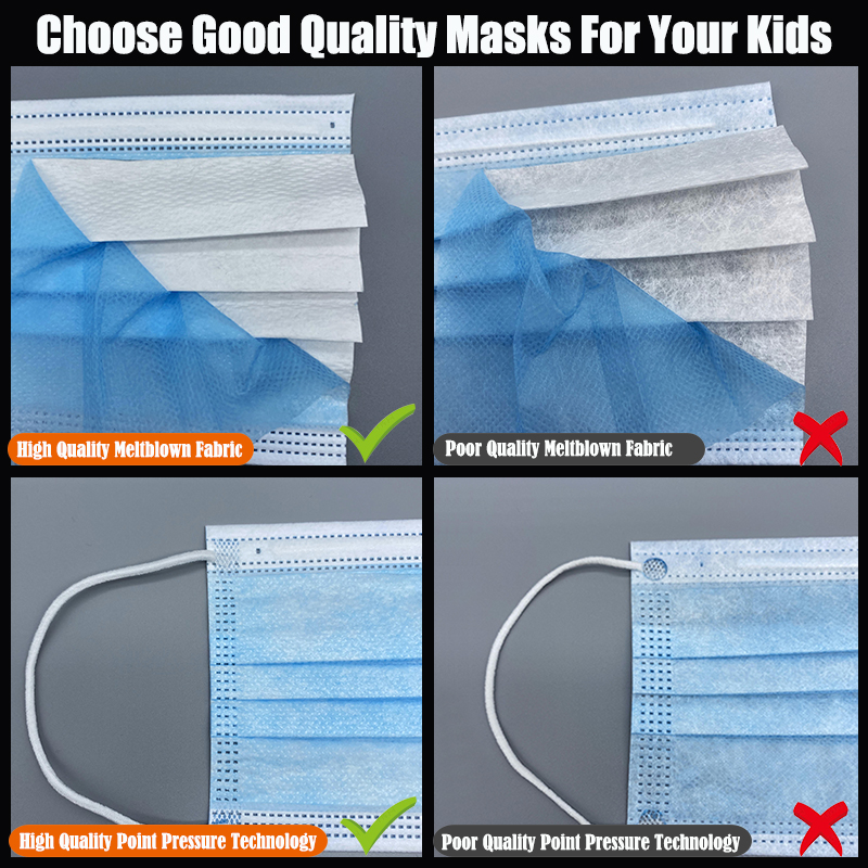 50 Pcs Kids Face Mask 3 Layer Disposable Children Mouth Mask