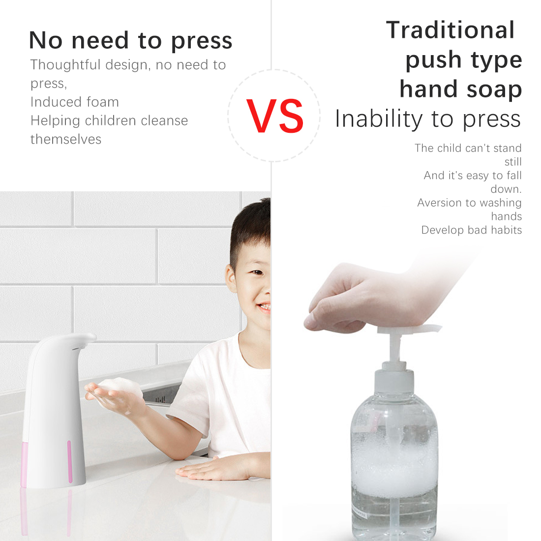 250ML Automatic Induction Soap Dispenser Foam Hotel Hand Sanitizer Wall-mounted Washing Mobile Phone Child Baby Soap Dispenser
