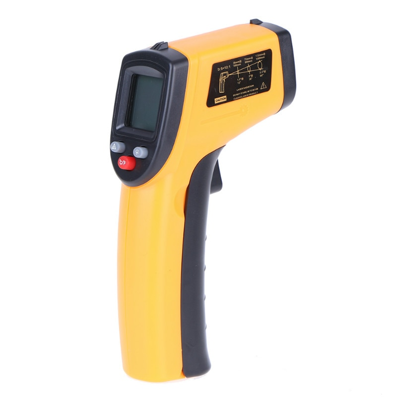 Digital Laser IR Infrared Thermometer LCD Non-Contact Pyrometer C F Selection Surface Pyrometer Outdoor/Indoor Temperature Meter