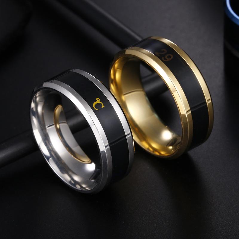 Fashion Smart Temperature Couple Ring Mood Temperature Titanium Ornament Ring