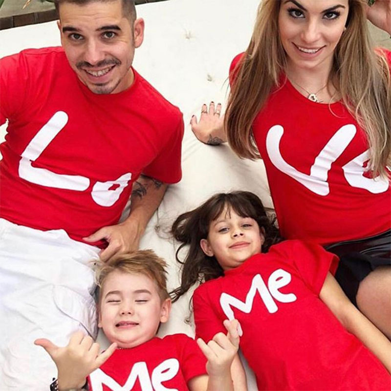 family matching clothes mother father daughter son kids baby T-shirt Parent-child Red Letter Print T-shirt Short Sleeve Tops