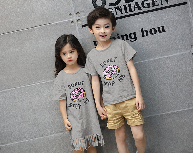 Family Matching Pyjamas Couple Look Mother and Daughter Dresses Tassel Shirt Dress Women Tops Kids T-shirt Parent Child Outfits