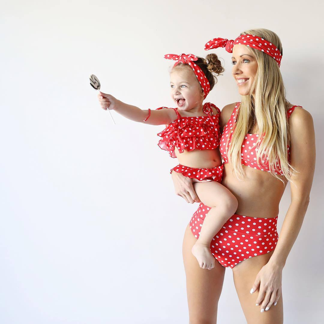 Mommy and Me Swimsuit Dots Leopard Mother Daughter Bathing Suit Beachwear Family Look Swimwear Matching Family Outfits Swimsuits