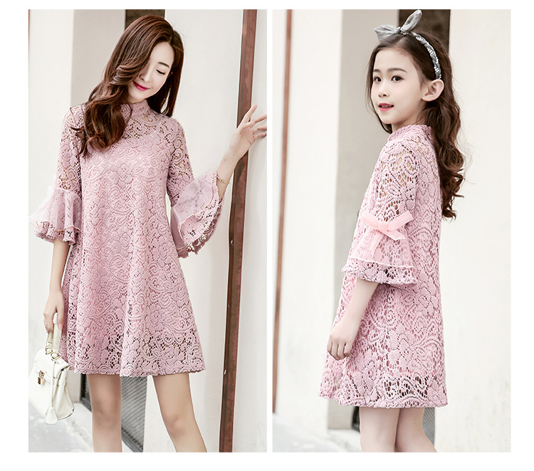 Mom Girl Lace Dresses Family Matching Clothes Matching Mother Daughter Family Lady Child Clothing Dress Family Look Outfits