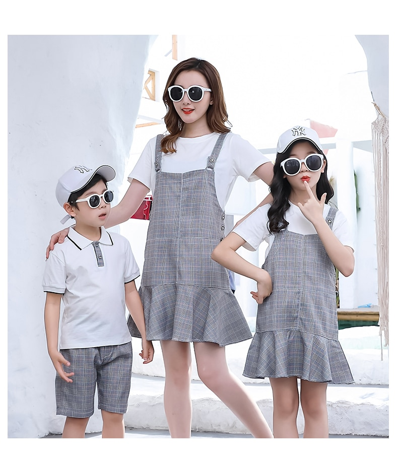New Fashion Family Matching Outfits Couple Clothes Brother Sister Matching Suits Mum Daughter T-shirt and Dress Set Dad Son Set