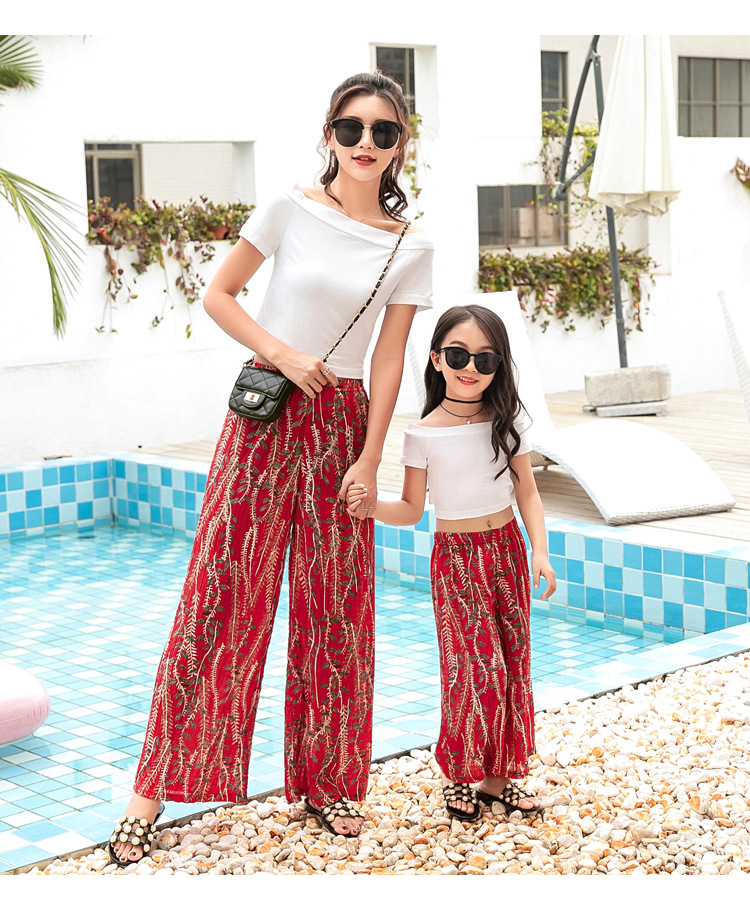 Summer Mommy And Me Floral Family Matching look Mother Daughter Chiffon High-waist bohemian wide-leg pants Clothes Beach Outfits