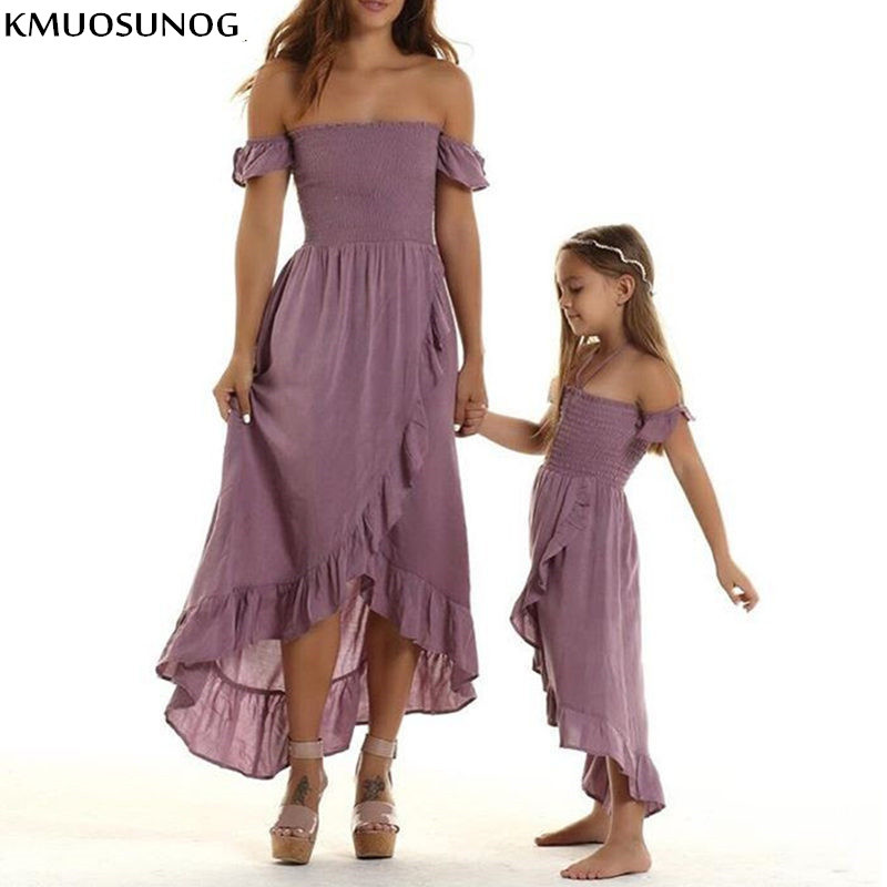 Mother Daughter Dresses Summer Off Shoulder Strapless Irregular Ruffles Beach Dress Family Match Outfits Mommy and me Clothes
