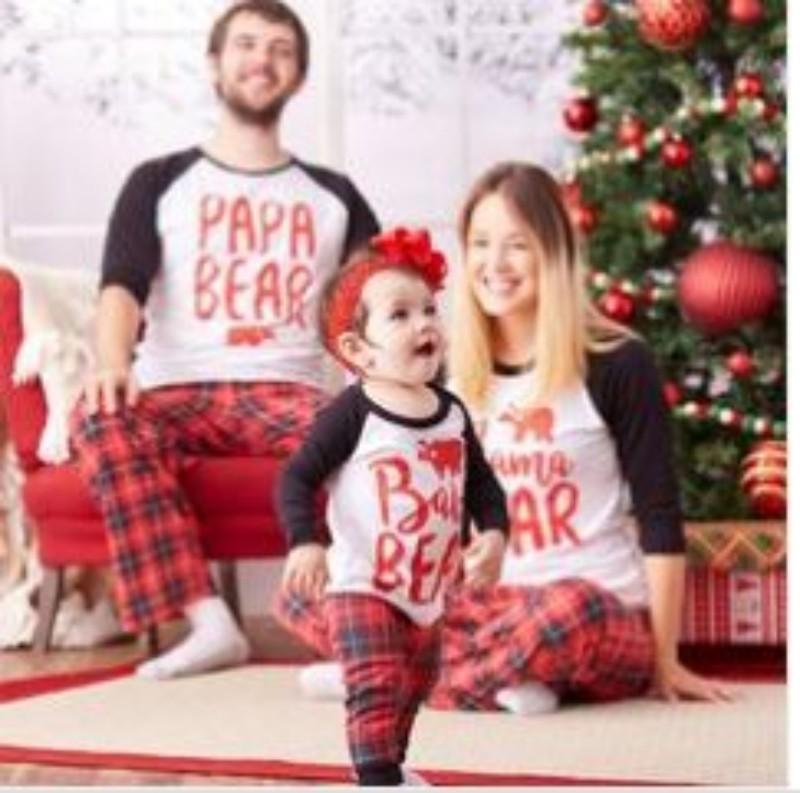 Papa Bear Mama Baby Bear Christmas Pajamas Family Matching Clothes Outfits Mother and Daughter Clothes 100% Cotton Pyjamas