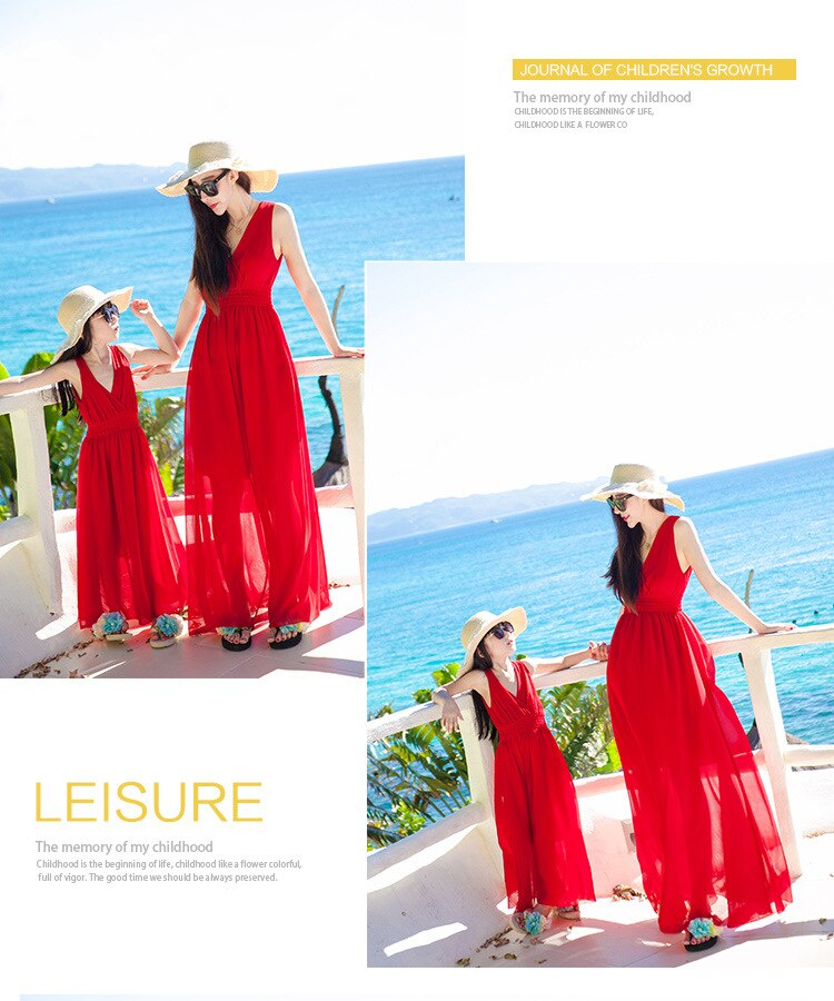 Mommy and Me Dress Family Matching Clothes Red Princess Beach Mom Daughter Outfits Mom and Daughter Wedding Dress Maxi Robe