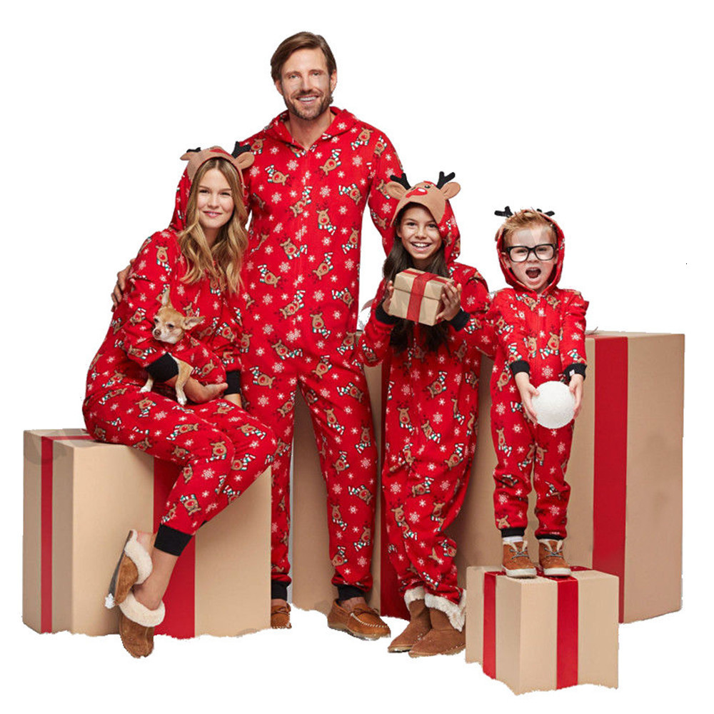 Christmas Family Matching Suit Jumpsuit Men Women Kid and Baby Christmas Print Pajamas Clothes Red fashion Xmas Nightwear Outfit