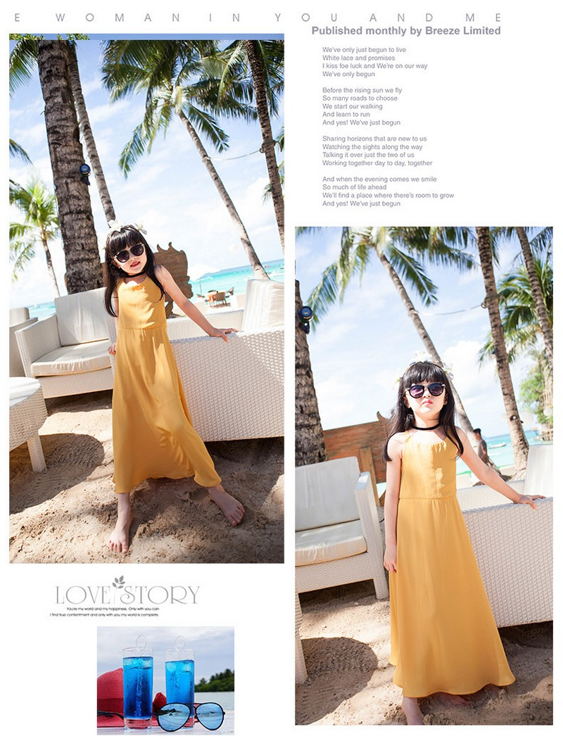 Yellow Color Mother Daughter Dresses for Mommy and Me Matching Clothes Sleeveless Summer Family Matching Mom Baby Girls Outfits