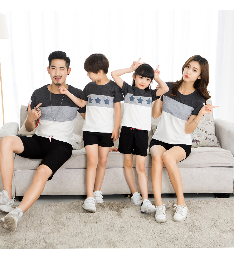 Famli 1pc Father Son Mom Daughter Matching T-shirt Summer Family Mommy Kids Twinning Casual Short Sleeve Striped Tee Top Outfits