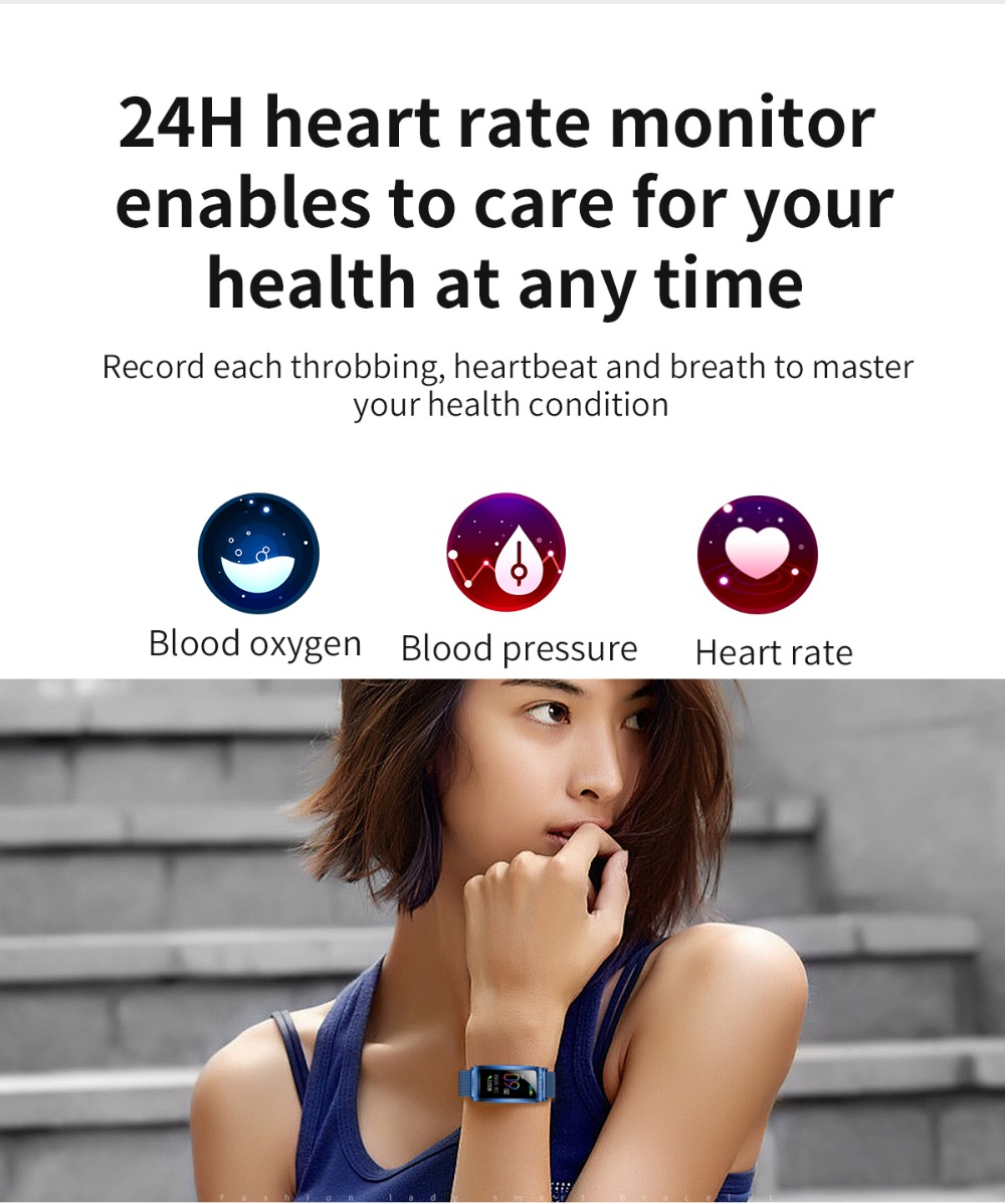 F28 Women Smart Watch Heart Rate Blood Pressure Oxygen Female Physiological Period Reminder Fitness Bracelet Gift for Lady Girl