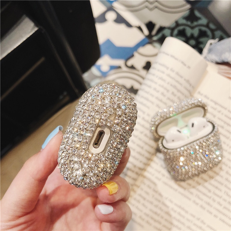 Luxury 3D Cute Bling diamonds Wireless Bluetooth Earphone Accessories hard case for Apple Airpods 2 1 protective Charging bag