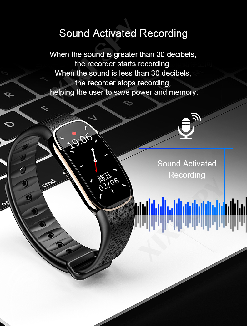 XIXI SPY Voice recorder Dictaphone audio watch bracelet MP3 mini sound professional micro digital activated