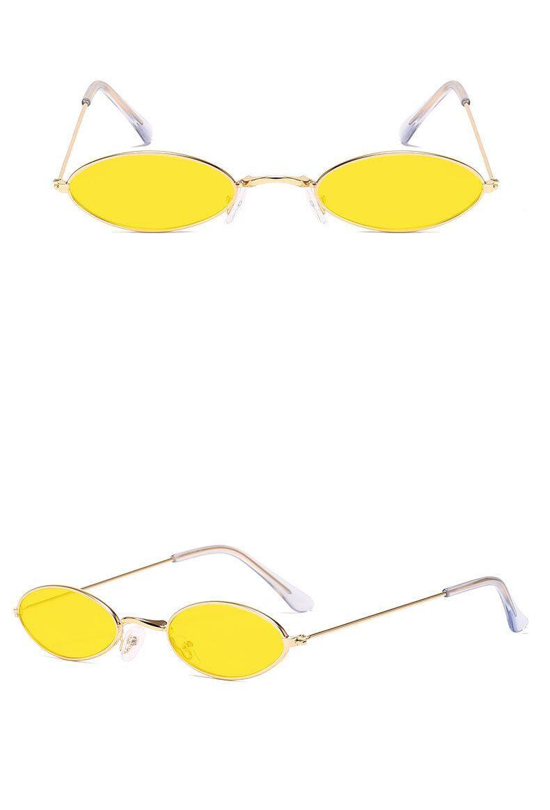 Unisex Retro Small Oval Sunglasses
