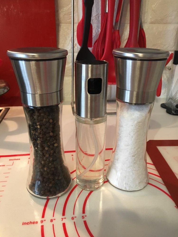 Salt and Pepper Grinder with Olive Oil Sprayer Set of 3