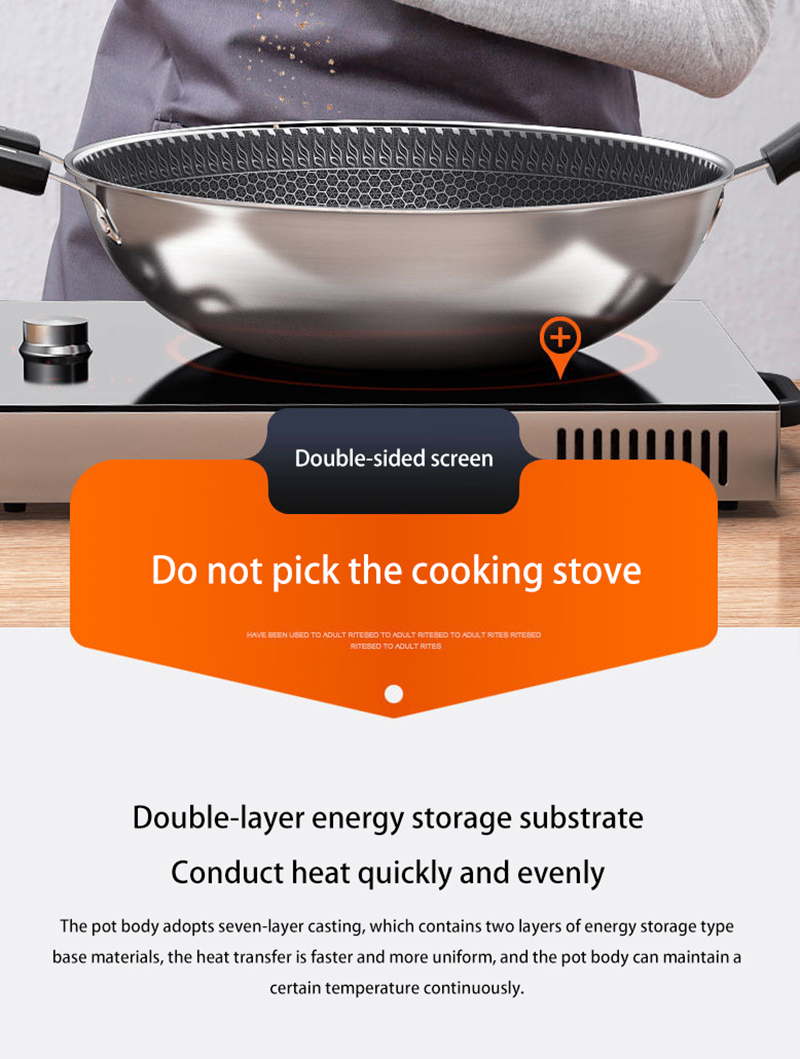 New Double-Sided Screen Honeycomb Stainless Steel Wok Without Oil Smoke Frying Pan Pan Non-Stick Cookware Kitchen Cooking Pot