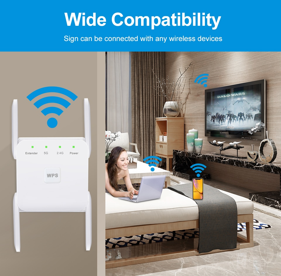 5 Ghz WiFi Repeater Wireless Wifi Extender 1200Mbps Wi-Fi Amplifier 802.11N Long Range Wi fi Signal Booster 2.4G Wifi Repiter